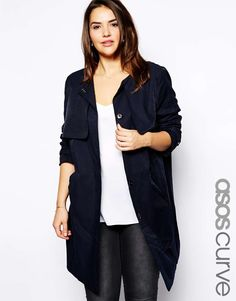 ASOS CURVE Collarless Relaxed Trench