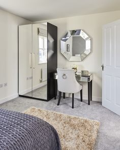 There's a sense of luxury about our new show home at The Grange - how beautiful are the mirrored wardrobes and dressing table? How Beautiful, Beautiful Homes, Mirrored Wardrobe, Dressing Table, New Shows, New Builds, Beautiful Bedrooms, Wardrobes, This Is Us