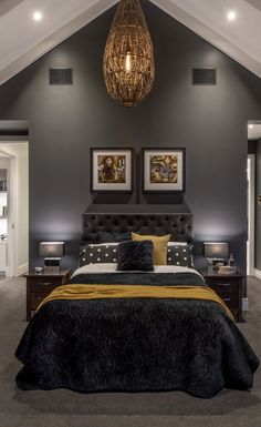 Beautiful black bedroom black decor black bed black bedding sheets Source by yourspacefurnit Bedding Black Bedroom Decor, Black And Grey Bedroom, Black Bedroom Design, Black Bedroom Furniture, Black Rooms, Black Decor, Grey Yellow Bedrooms, Couple Bedroom Decor, Mustard And Grey Bedroom