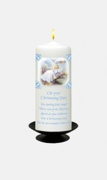 Blue Traditional Christening Candle