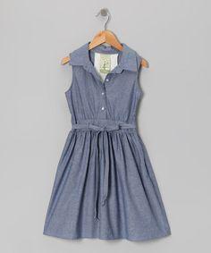 Denim Sleeveless Shirt Dress by Kiddo by Katie