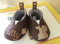 Nutty Squirrel Wool Felt Baby Shoes Sizes 1-6 by PracticalCharm ♡