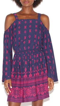 Pink and navy cold shoulder dress