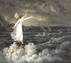 Amelia Jane Murray - A Fairy Waving Her Magic Wand Across a Stormy Sea Art Print. Explore our collection of Amelia Jane Murray fine art prints, giclees, posters and hand crafted canvas products Fairy Land, Fairy Tales, Fairy Dust, Amelia Jane, Stormy Sea, Vintage Fairies, Sea Art, Faeries, Fantasy Art
