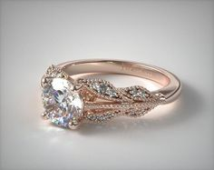 Vintage Inspired Setting in Rose Gold - Ring price excludes center diamond.