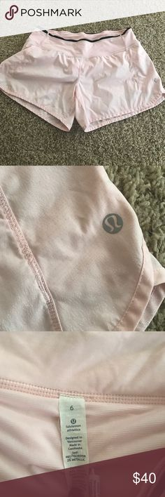 Lululemon shorts size 6 Very good condition.  Light pink with a silver shine to it. Cheaper on merc lululemon athletica Shorts
