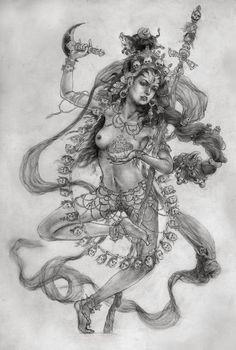 She is called Vajra Varahi, the Adamantine Sow Goddess She's one awesome Buddha! Kali Goddess, Indian Goddess, Mother Goddess, Goddess Art, Kali Tattoo, Hindus, Geniale Tattoos, Thai Art, Sacred Feminine