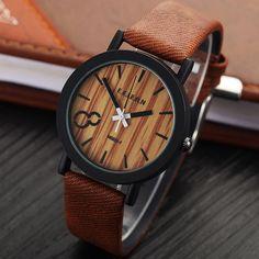 Деревянная модель кварцевых, мужских часов Relojes.Повседневные деревянный цвет, кожаный ремешок.  Купить на AliExpress.