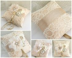 Ring Bearer Pillow - Bridal Pillow in Champagne, Nude and Ivory with Lace, Brooch, Jewels and Pearls- Vintage Passion