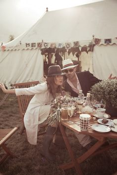 Festival wedding guests!  Photo by Helen Abrahams