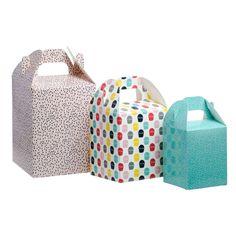 Set 12 cajas de cartón con diseño impreso en tres tamaños direfentes, para guardar galletas u otros.