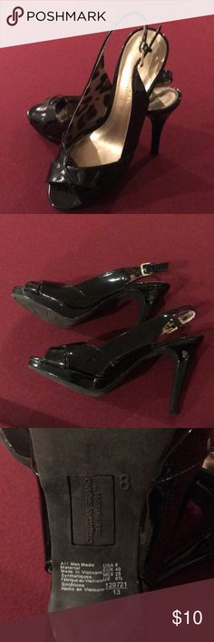 Black Patent heels Christian Soriano for Payless. 4 inch heels with open toe. Worn only a few times. Size 8. Christian Siriano Shoes Heels