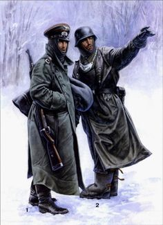 """1. Petty Officer Artillery 169th Infantry Division of the Wehrmacht. 1942 model wears a coat and carrying a Mauser (Kar-92), 7.92 mm caliber rifle. 2. Police Soldier Field (Feldgendarmerie) wearing a waterproof coat """"Mackintosh"""" gaiters, waterproof boots and a ruff. The ruff is made of silver metal."""