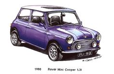 Violet 1990 Rover Mini Cooper Car One day, I'll be driving one of these.