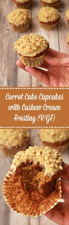 Light fluffy and wholesome gluten-free carrot cake cupcakes with cashew cream frosting! These irresistible cupcakes are vegan, perfectly moist, and delish! | lovingitvegan.com