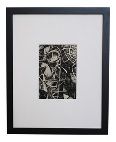 Mid-century original black & white abstract ink drawing, circa 1960s. Black gallery frame,  white archival matting and conservation glass.  Beautiful as a stand alone piece, grouped as a set or part of a gallery wall!