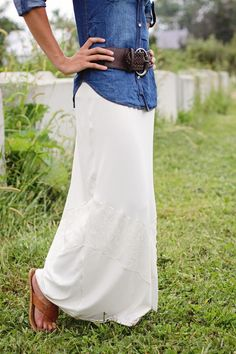 Lace Maxi Skirt. A great way to lengthen skirts!