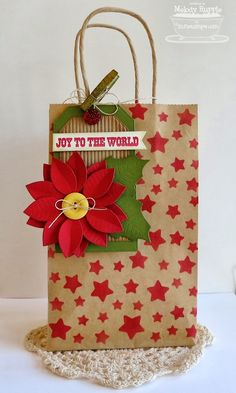 A Paper Melody: MFT'S October Creative Challenge Christmas Handmade packaging Tags regalos Christmas Gift Bags, Christmas Gift Wrapping, Handmade Christmas, Christmas Crafts, Paper Bag Crafts, Paper Gift Bags, Paper Gifts, Creative Challenge, Decorated Gift Bags