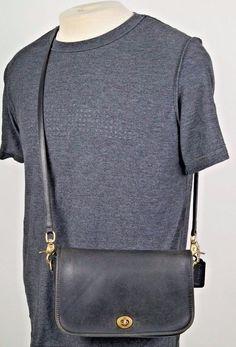 Vintage Coach Black Leather Turnlock Crossbody Messenger Flap Bag Purse w/ Box #Coach #ShoulderBag