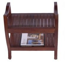 """Contemporary Teak 24"""" Spa Bench with Shelf with Lift Aide Arms"""