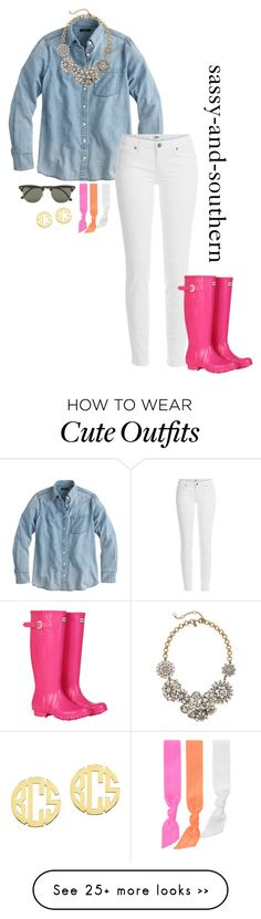 """""""cute outfit"""" by sassy-and-southern on Polyvore featuring J.Crew, Paige Denim, Hunter, Splendid, Ray-Ban and QVC"""