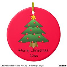 Christmas Tree on Red Personalized Ornament