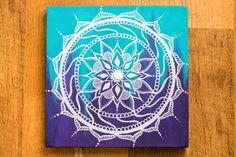 10x10 Blue and Purple Mandala Canvas Painting by heyalisia on Etsy