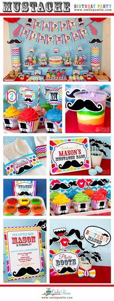 Little Man Mustache Bash BIRTHDAY Party Printable by OwliePowlie, $29.00