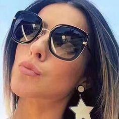 R  45.11  Nova Marca Designer Rodada Óculos De Sol Das Mulheres Grande  Quadro Overside estilo Verão Óculos de Sol Oculos de sol UV400 Óculos Para  O Sexo ... 280d2be1e7