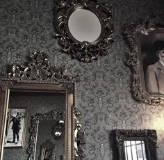 Baroque frames on a wall.