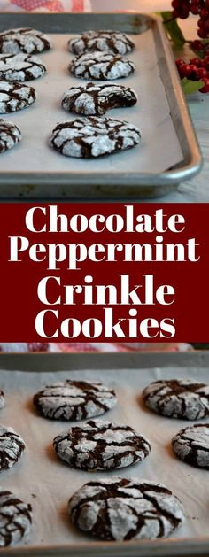 chocolate peppermint crinkle cookies these are the perfect christmas cookie you need to make this chocolate crinkle cookie is the best people will ? Chocolate Marshmallow Cookies, Chocolate Chip Shortbread Cookies, Toffee Cookies, Chocolate Crinkles, Yummy Cookies, Peppermint Crinkle Cookies Recipe, Pepermint Cookies, Quick Cookies, Chocolate Chocolate