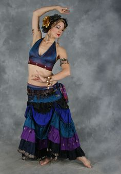 Dahlal Internationale Store - TIERED RUCHED SKIRT of Vintage Sari Fabric, for Belly Dance, $75.00 (http://www.dahlal.com/tiered-ruched-skirt-of-vintage-sari-fabric-for-belly-dance/)