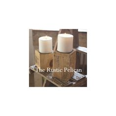 Rustic Home Decor -Rustic Wedding -Vintage Candle Holder ($55) ❤ liked on Polyvore featuring home, home decor, candles & candleholders, wooden centerpieces, wedding centerpieces, wooden home decor, wooden candle holders and wedding center piece