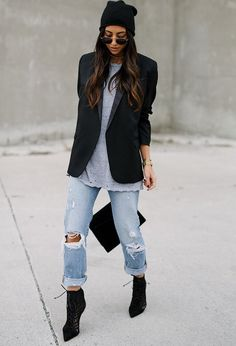 Look by @pgnina with #casual #ankleboots #jeans #blackboots #blazers #gucci #trendy #cool #goingout #beanies #tshirts #schutz #ootd #clutches #thekooples #ripyourjeans #ayr #blackbags #blackblazers #graytshirts #turquoisepants #notyourstandard.