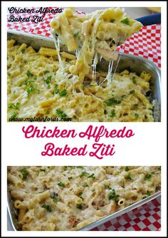 This Chicken Alfredo Baked Ziti contains an amazing homemade Alfredo sauce!  http://www.myturnforus.com/2014/09/chicken-alfredo-baked-ziti.html