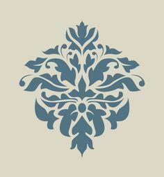 Damas. Damassé. Dentelle. Motif floral. Pochoir en vinyle adhésif (ref 183) : Décoration d'intérieur par larabesque                                                                                                                                                                                 Plus