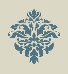 Damas. Damassé. Dentelle. Motif floral. Pochoir en vinyle adhésif (ref 183) : Décoration d'intérieur par larabesque