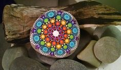 Large Hand Painted Stone ~ Colorful Dot Art Painted Rock ~ Coastal Beach Decor ~ Geometry Mandala Blue Ombre Rings by P4MirandaPitrone on Etsy