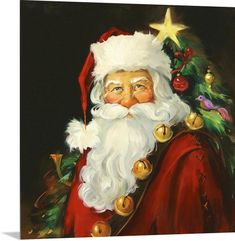 Save on Santa Clause canvas wall art. Save on Santa Clause canvas wall art. Christmas Artwork, Christmas Paintings, Christmas Scenes, Christmas Pictures, Illustration Noel, Illustrations, Santa Paintings, Image Halloween, Portrait Acrylic