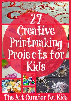 The Art Curator for Kids - 27 Creative Printmaking Projects for Kids Kids Art Class, Art Lessons For Kids, Art Activities For Kids, Preschool Art, Projects For Kids, Art For Kids, Art Projects, 4 Kids, Children