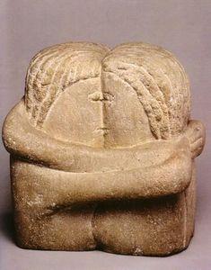 """""""Il bacio"""" è una delle più celebri sculture di questo artista. In questa scultura, la figura maschile - Constantin Brancusi"""