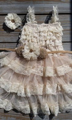 Rustic Lace Flower Girl Dress/Rustic Flower Girl Dress/ Cream Flower Girl/Country Wedding/Burlap Lace/Shabby Chic Wedding