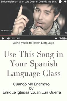 Using Music to Teach Spanish (Enrique Igelsias- Cuando me enamoro) If you listen carefully in the song above at minute he sings the word veces (times) and makes the distinctive Castilian 'th' sound for 'c'… and again in the word lucero (bright star) Spanish Songs, Spanish Phrases, Ap Spanish, How To Speak Spanish, Learn Spanish, Spanish Games, Time In Spanish, Spanish Practice, Spanish Lessons For Kids