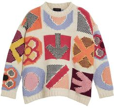 Burberry Motif Intarsia Wool-Cashmere Sweater