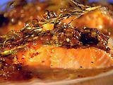 Johnny Garlic's Cedar Plank Salmon... the glaze is jalapeños, garlic, white wine, whole grain mustard, and apricot preserves. Delicious!