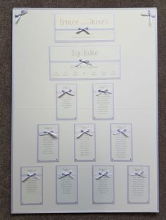 Lilac themed wedding table plan board with ribbon bows for detail
