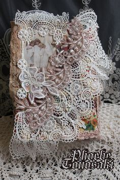 Fabric and lace book cover back