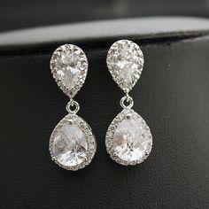 Bruids oorbellen bruiloft sieraden Zilveren door poetryjewelry