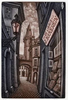 EX LIBRIS - J. Souverein. City street with Bookshop.  PETER MELAN (Artist). Bookplate.