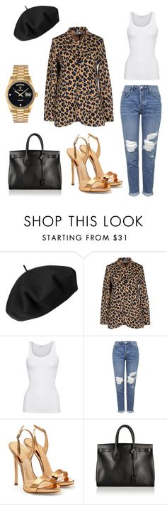 """Paris night out."" by moarbaje on Polyvore featuring Betmar, Aniye By, American Vintage, Topshop, Giuseppe Zanotti, Yves Saint Laurent, Rolex, women's clothing, women and female"